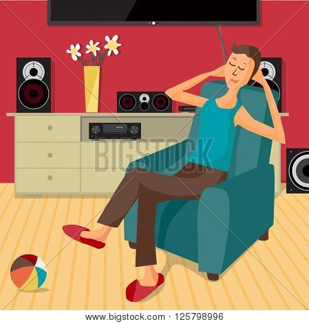 Vector modern flat design man listens to music at home using a stereo system. Cartoon character of music lover. Music lover man listens to music with stereo system while sitting in chair