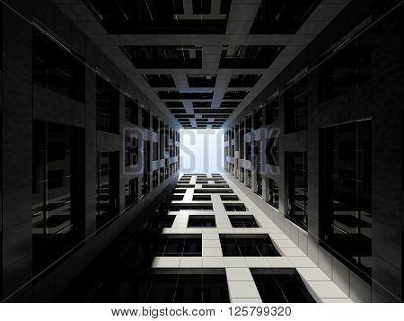 Dark Inner Courtyard Of Tall Office Tower. 3 D