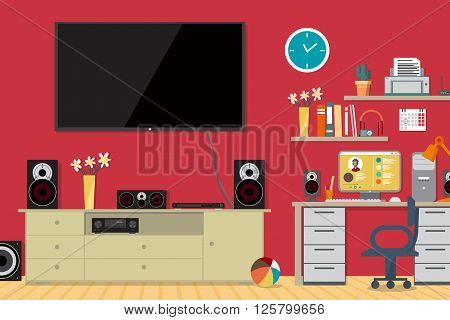 Home cinema system and workplace in interior room. Home theater flat vector illustration. TV, loudspeakers, computer, player, receiver, subwoofer for home movie theater and music in the apartment