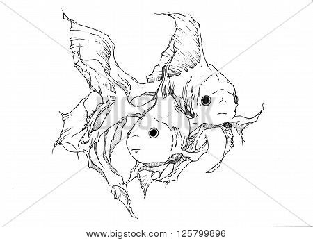 Black and white drawing of two goldfish