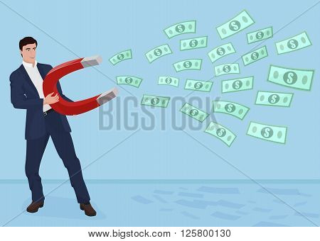 Male businessman getting money with a large magnet concept