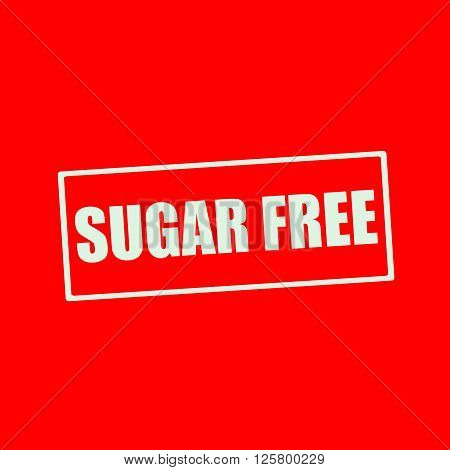 Sugar free white wording on rectangle red background