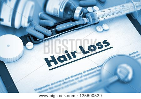 Hair Loss, Medical Concept with Pills, Injections and Syringe. Hair Loss Diagnosis, Medical Concept. Composition of Medicaments. 3D Render.