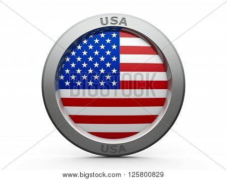 Emblem - Flag of USA - isolated on white three-dimensional rendering 3D illustration