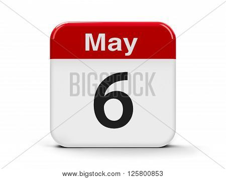 Calendar web button - The Sixth of May three-dimensional rendering 3D illustration