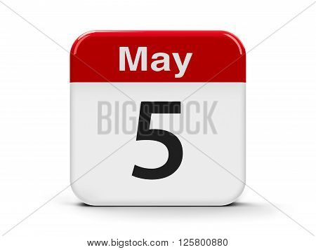 Calendar web button - The Fifth of May - International Day for the rights of the disabled and International Midwives' Day three-dimensional rendering 3D illustration