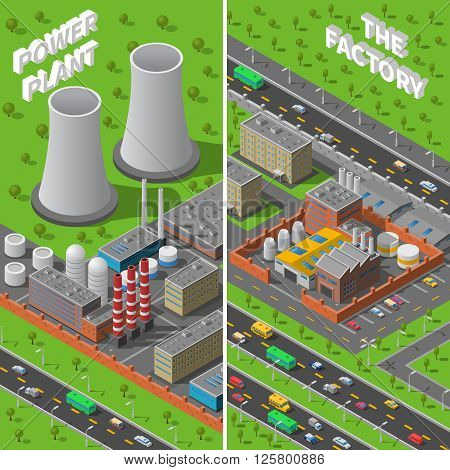 Industrial area 2 vertical isometric banners composition with factory and power plant wide chimneys abstract vector illustration