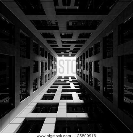 Inner Courtyard Of Tall Modern Office Tower. 3D