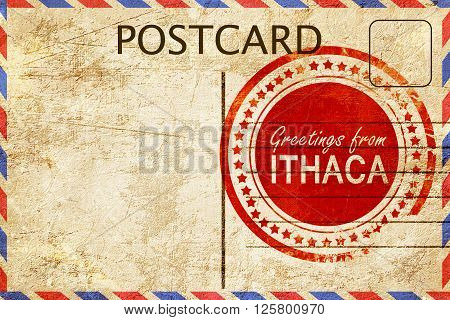 greetings from ithaca, stamped on a postcard