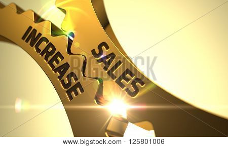 Sales Increase on the Mechanism of Golden Cogwheels. Sales Increase - Concept. Sales Increase on Mechanism of Golden Metallic Gears with Glow Effect. Sales Increase - Illustration with Lens Flare. 3D.