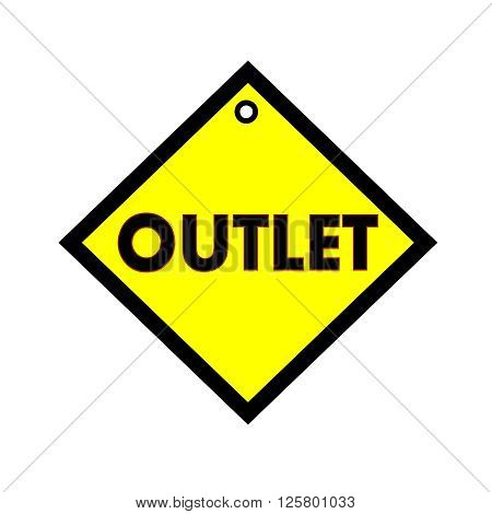 outlet black wording on quadrate yellow background