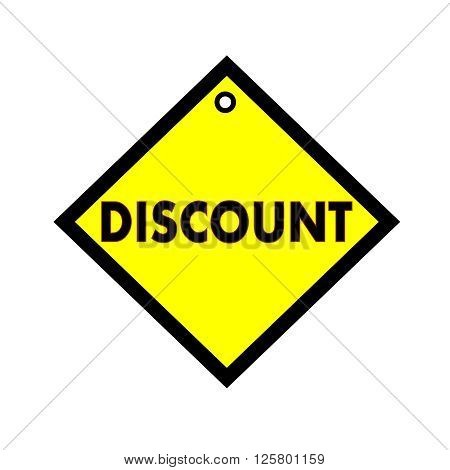 discount black wording on quadrate yellow background