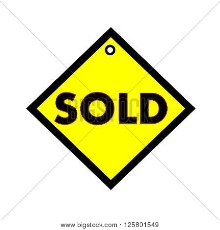 sold black wording on quadrate yellow background