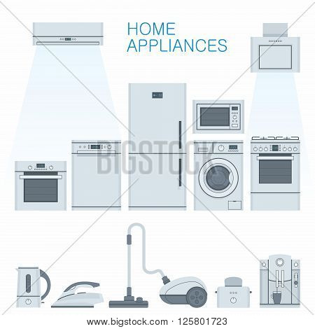 Home appliances. Group of household appliances. Vector illustration