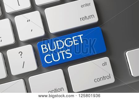 Budget Cuts Key. Concept of Budget Cuts, with Budget Cuts on Blue Enter Keypad on Laptop Keyboard. Metallic Keyboard Key Labeled Budget Cuts. Blue Budget Cuts Keypad on Keyboard. 3D Illustration.