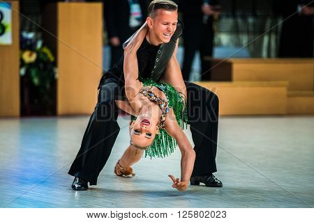 Chelyabinsk Russia - April 10 2016: Young couple dancers performance at event during Cup of Governor Chelyabinsk region sports dance