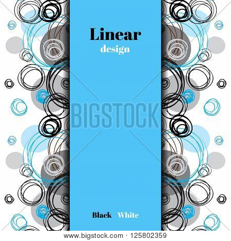 Elegant geometric background. Black blue gray outline circles vertical ornament in white background. Hand drawn abstract border stripe design. Vector graphic for banners, fabric, wrapping paper.
