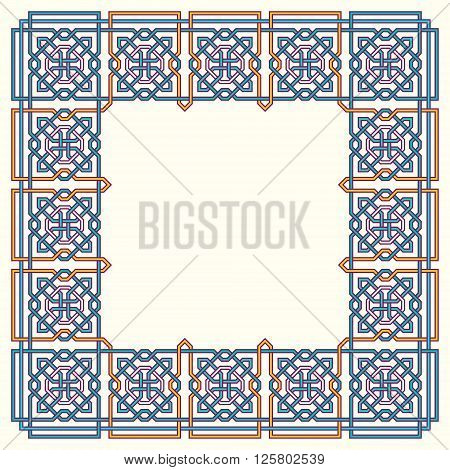Frame with tangled modern pattern design elements based on traditional oriental arabic patterns. Vector illustration. Plain colors - easy to recolor.