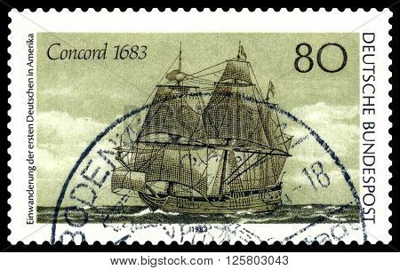 STAVROPOL RUSSIA - APRIL 05 2016: a stamp printed by Germany shows the famous tall ship Concord in 1683 300 years of emigration of Germans in the United States circa 1983 .