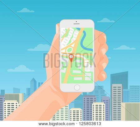 Man holding smartphone in hand with mobile gps navigation map on the modern city background. Vector illustration