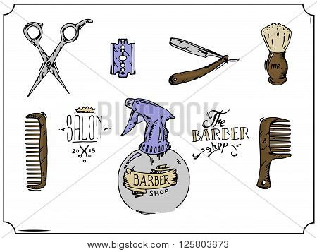 Vintage tools of barber shop. Colored hand drawn vector stock illustration