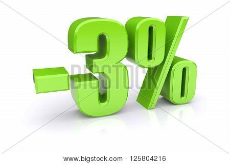 Green 3% percentage rate icon on a white background. 3d rendered image