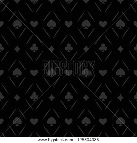 Black seamless casino gambling poker background or dark   pattern and cards symbols