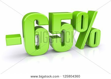 65% discount icon on a white background. 3d rendered image