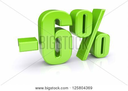 Green 6% percentage rate icon on a white background. 3d rendered image