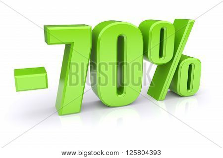70% discount icon on a white background. 3d rendered image