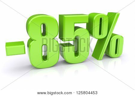85% discount icon on a white background. 3d rendered image