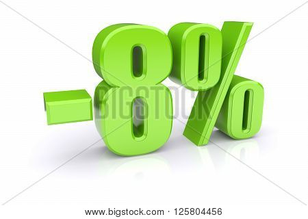 Green 8% percentage rate icon on a white background. 3d rendered image