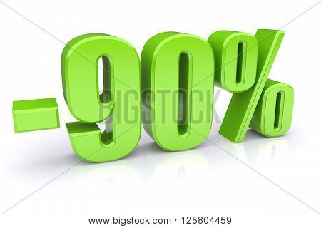 90% discount icon on a white background. 3d rendered image