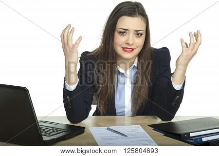Business Woman Throws Up Her Hands In Helplessness