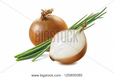 Yellow onion half green scallion 1 isolated on white background as package design element