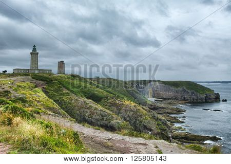 Cap Frehel (Cotes-d'Armor Brittany France): the coast and the lighthouse at summer