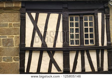 Saint-Brieuc (Cotes-d'Armor Brittany France): old typical half-timbered house a window