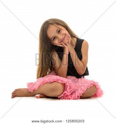 Beautiful Young Smiling Girl Sitting Down