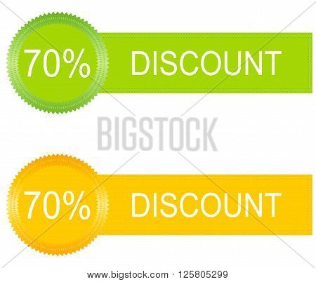 70 percent discount buttons set in orange and green
