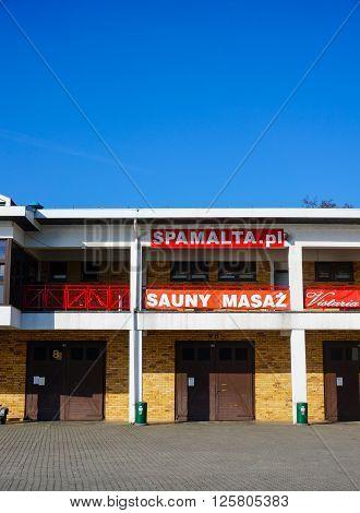 POZNAN POLAND - MARCH 27 2016: Sauna and massage salon Spa Malta on the Malta park