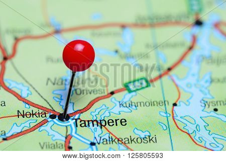 Tampere pinned on a map of Finland