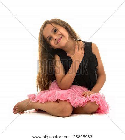 Beautiful Young Smiling Girl Sitting