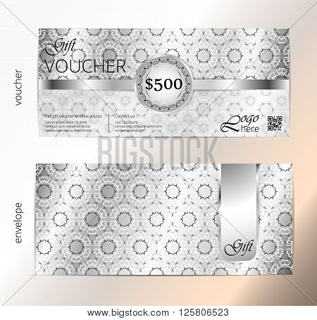 Voucher and envelope set Gift certificate Luxury Coupon template. Floral scroll pattern. Background design for invitation ticket cheque. Silver vector
