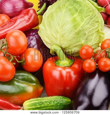 A bright background of vegetables and  greens
