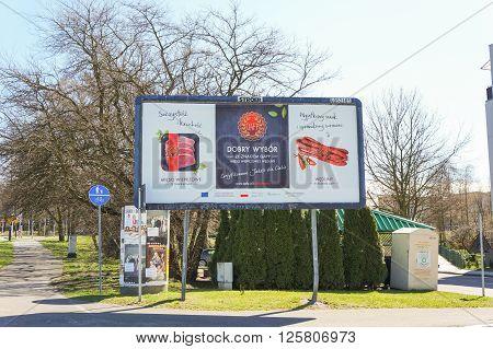 POZNAN POLAND - APRIL 01 2016: QAFP meat brand advertisement billboard on the Polan area