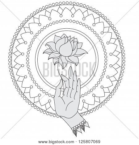 Elegant  hand drawn Buddha hand with flower. Isolated icons of Mudra. Beautifully detailed, serene. Vintage decorative elements. Indian, Hindu motifs