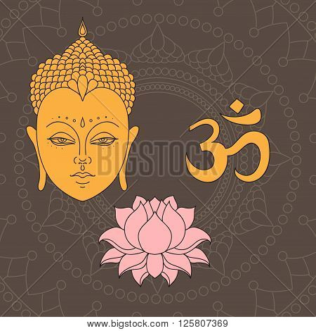 Head of Buddha. Om sign. Hand drawn lotus flower. Isolated icons of Mudra. Beautiful detailed serene. Vintage decorative elements. Indian Hindu motifs