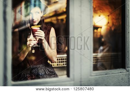 Girl Lady Style Restaurant Leisure Chill Cafe Fun Concept
