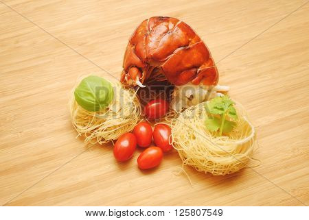 Fresh Lobster Tail with Dried Angel Hair Pasta Nests
