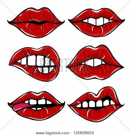Open female mouth with red lips. Womens lips isolated on a white background.